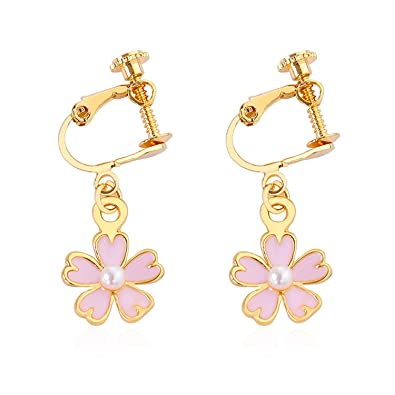 Amazon com: Korea Style Flower shape pearl Clip on Earrings