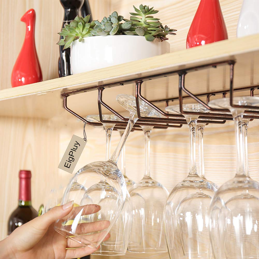 Negro estante para estante adorno para colgador de almacenamiento estante para copas de vino debajo del gabinete Copa de copa de vino colgante para el hogar de estilo europeo