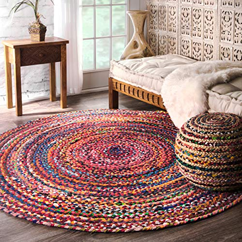nuLOOM Hand Braided Tammara Cotton Round Rug, 6' Round, Multi (For Rugs Round Looking)