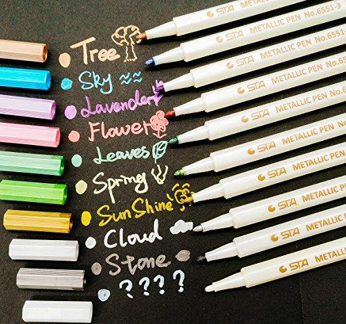 Travel Scrapbook Album (PuTwo Metallic Marker Pens Scrapbook Photo Album Markers 10 Assorted Colors in 1 Set)