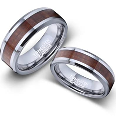 Men And Womenu0027s Tungsten And Koa Wood Wedding Rings 5mm Size 4
