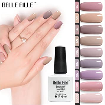 Amazon.com: Belle Fille UV LED Gel Nail Polish Nude Series Colors ...