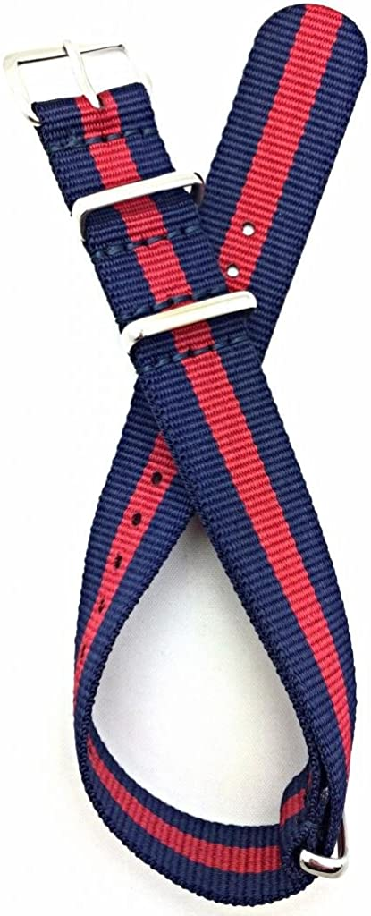 18mm Red/Navy Blue, Nylon Fabric Watch Band   Vintage, Heavy Duty, Military Style Replacement Wrist Strap that brings New Life to Any Watch