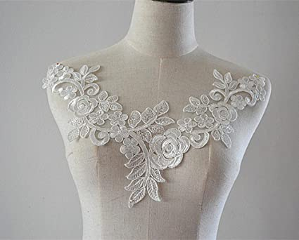 Amazon v neck rose embroidery lace applique off white sewing