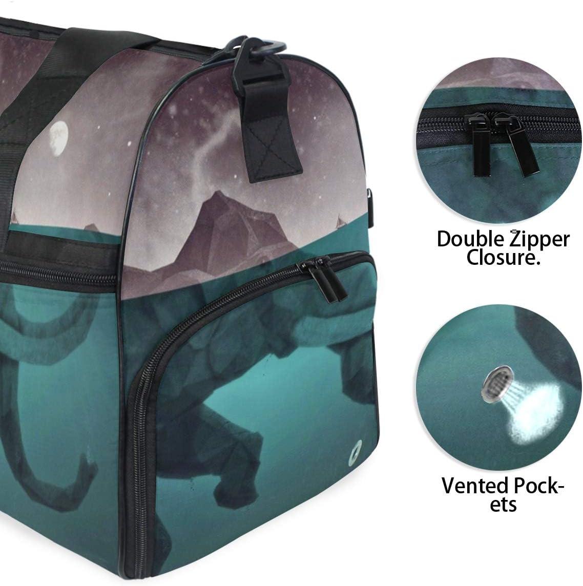Travel Duffels Gray Elephant Illustration Duffle Bag Luggage Sports Gym for Women /& Men