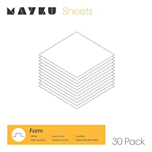 Mayku Form Sheets - for The Mayku FormBox: Desktop Vacuum Former | Create Prototypes, Molds and Casts from Your Workplace | Bring Ideas to Life Without The Factory | White Sheets - 0.5mm - 30 Pack