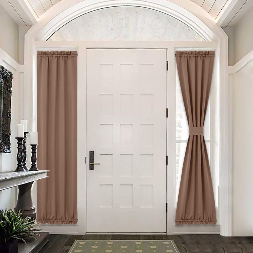 PONY DANCE Front Door Curtain - Rod Pockets Back Door Window Decor Panels Energy Efficient Functional French Door Curtains 25 x 72 inches, Coffee Brown, 2 Pieces