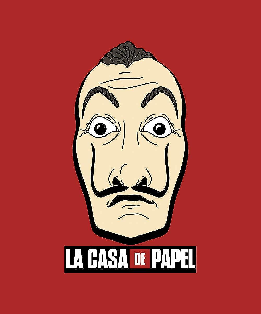 Casa de Papel La Casa di Carta Tshirt Rossa Stampa Frontale Logo Maschera Dal/ì Prodotto Ufficiale 100/% Originale Netflix Serie TV Maglia Maglietta