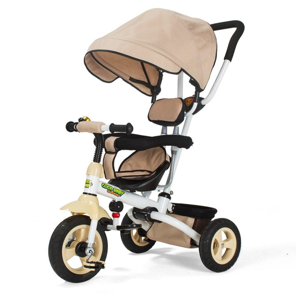 子供用三輪車ワンボタン折りたたみカート1-5ベビー自転車ベビー自転車、紫/カーキ/ブルー、80 * 50 * 100センチメートル ( Color : Khaki ) B07CFWXH38