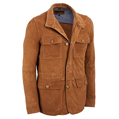51ebcf8eb Wilsons Leather Mens Goat Suede 4-Pocket Car Coat - Beige -: Amazon ...