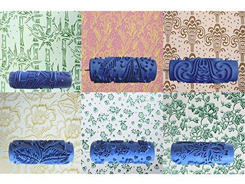 15cm Blumen Muster Empaistic Malerei Roller Wand Dekoration fuer die Dekoration Machine Blau A-goo