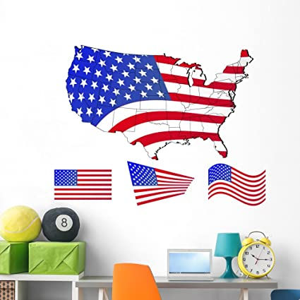 Amazon.com: Wallmonkeys United States Map with Flags Wall Decal Peel ...