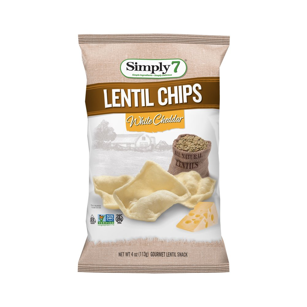 Simply7 Gluten Free Lentil Chips, White Cheddar, 4 Ounce (Pack of 12)
