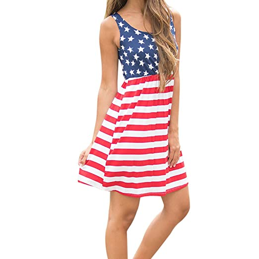 AmyDong Dresses for Women, Formal Dresses Womens Print American Flag Sexy Sleeveless Mini Dress Evening
