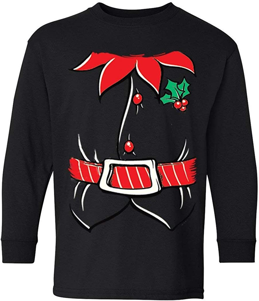 XtraFly Apparel Boys Elf Shirt Poinsettia Holly Belt Christmas Crewneck Long Sleeve T-Shirt