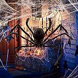 WRG_BOS Glowing Eyes Fodable Sound Control LED Halloween Spider Creepy High Stimulation Plush Spider Vibrating Toy Giant Plush Toy