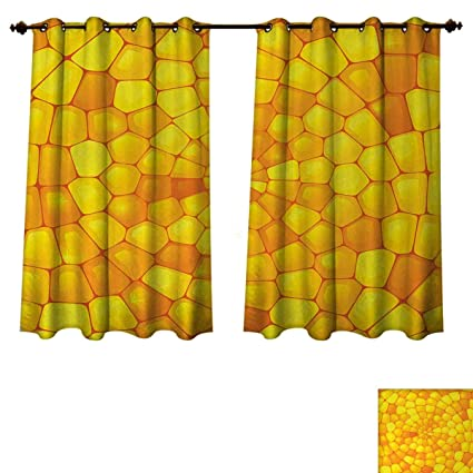 Anzhouqux Yellow Bedroom Thermal Blackout Curtains Abstract Stained  Irregular Glass Mosaic Patterns Inspired Decor Illustration Drapes