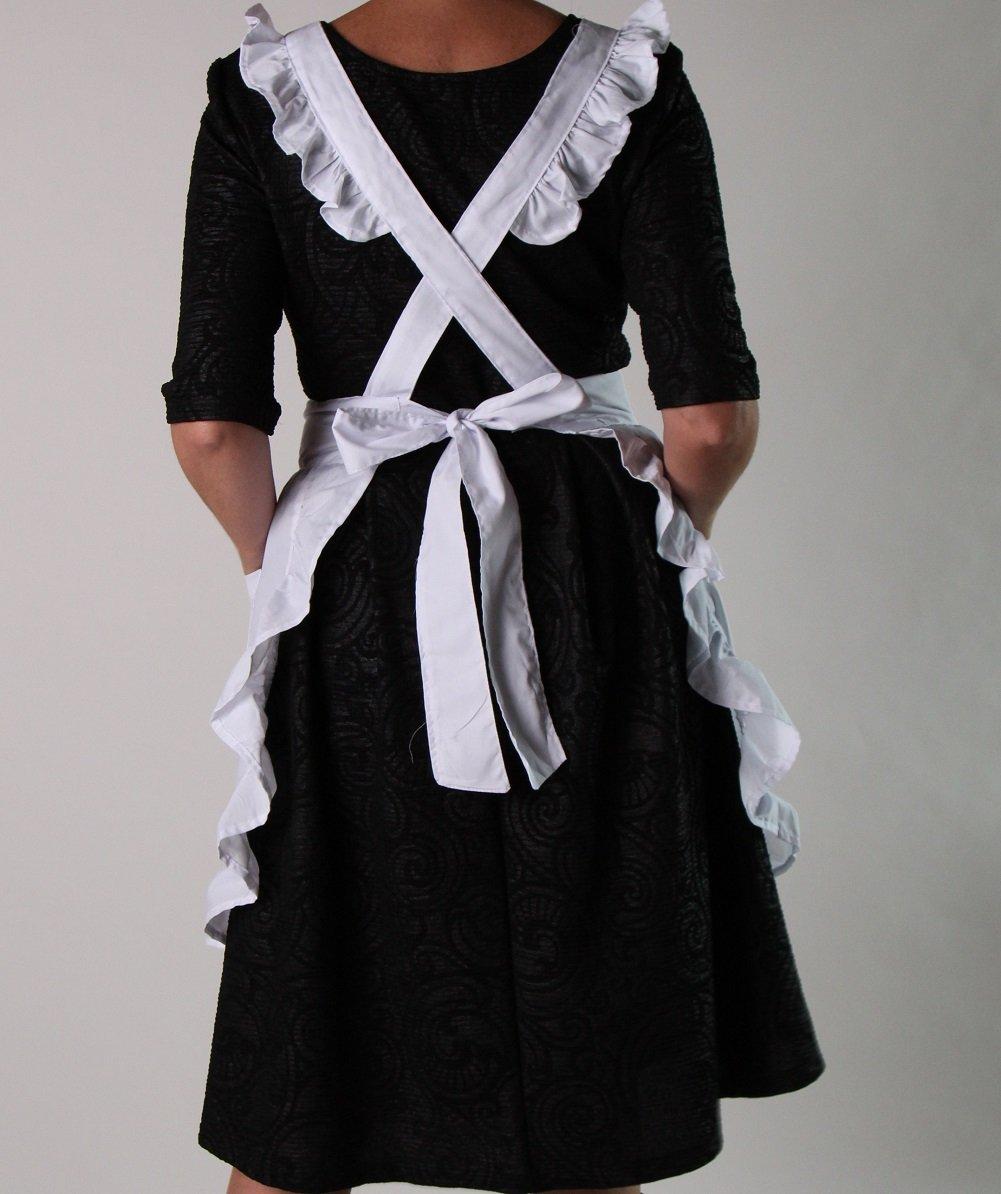 White apron pinafore - Amazon Com Teen Or Women S White Ruffled Pinafore Apron Smock Home Kitchen