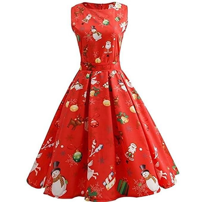 Oudan Vestido de Navidad para Mujer, Vestido de Noche Rojo Corto, Vestido con Cinturón