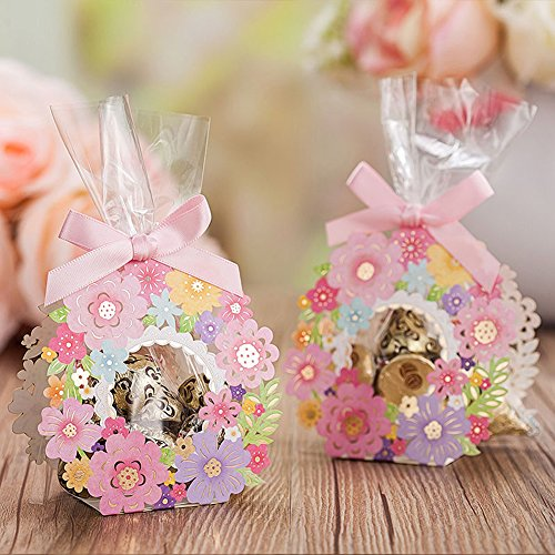 mk. park - Creative Lovely Floral Outline Candy Box Wedding Favours Party Event Gift 10 Pcs