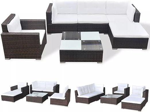 vidaXL Conjunto de Muebles de Jardín 6 Piezas Ratán Sintético Marrón Juego Comedor Exterior Mesa y Sillas Patio Porche Terraza Material Estilo Mimbre: Amazon.es: Jardín