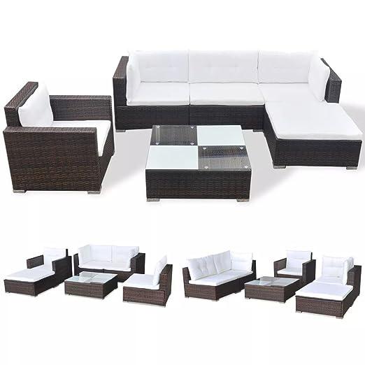 vidaXL Conjunto de Muebles de Jardín Exterior 17 Piezas de Poli Ratan Marrón