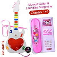 Naksh Toys and Gift Musical Guitar with Sound & 3D Lighting + Musical Landline Telephone; Learning Toy for Kids (Random Colour) Pack of 2
