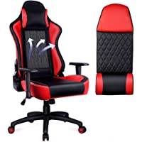 OUTON Adjustable Height Swivel Racing Style Gaming Chairwith Headrest Lumbar Support (Black/Red)