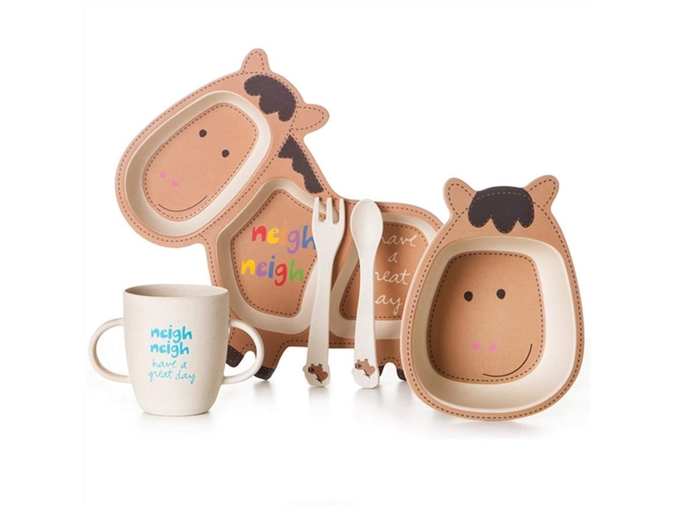 Zehaer ベビープレースマット 竹繊維 漫画 ポニーディッシュ 子供用プレート フォークスプーンカップセット 子供 幼児 子供用   B07KGB2LTS