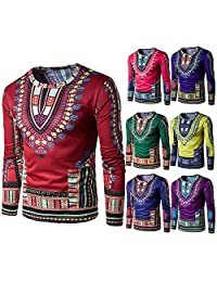 LUNIWEI Mens Traditional African Print Long Sleeve T-Shirt Blouse