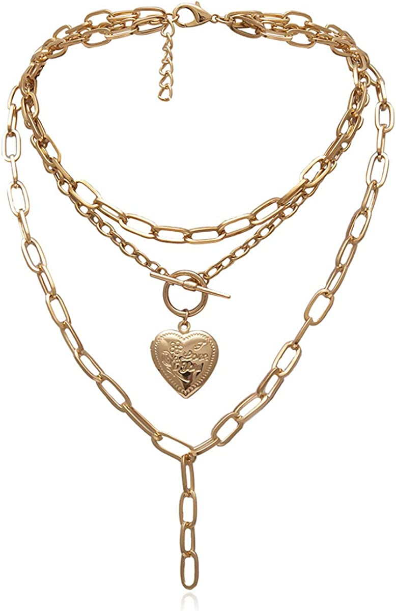 Ingemark Statement Cool Punk Chunky Chain Necklace for Women Girls Heart Shaped Photo Locket Pendant Layered Pearl Choker Necklace (Style 3 Golden)