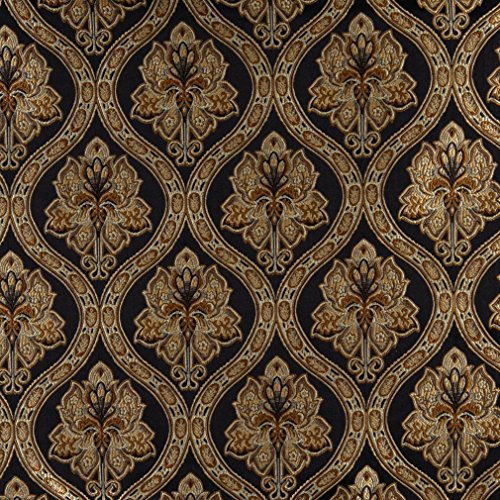 A0016C Midnight Gold and Ivory Embroidered Traditional Brocade Upholstery and Window Treatments Fabric by The Yard (Furniture Discount Roberts)