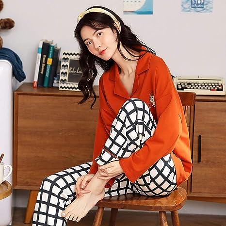 Pijama De Algodón De Manga Larga Para Mujer,Patrón Cuadriculado Blanco Personalizado De La Mujer De Manga Larga De Solapa Cardigan Pijama Suave Comodidad Cálida Transpirable Absorbente Del Sudor Ho: Amazon.es: Deportes y