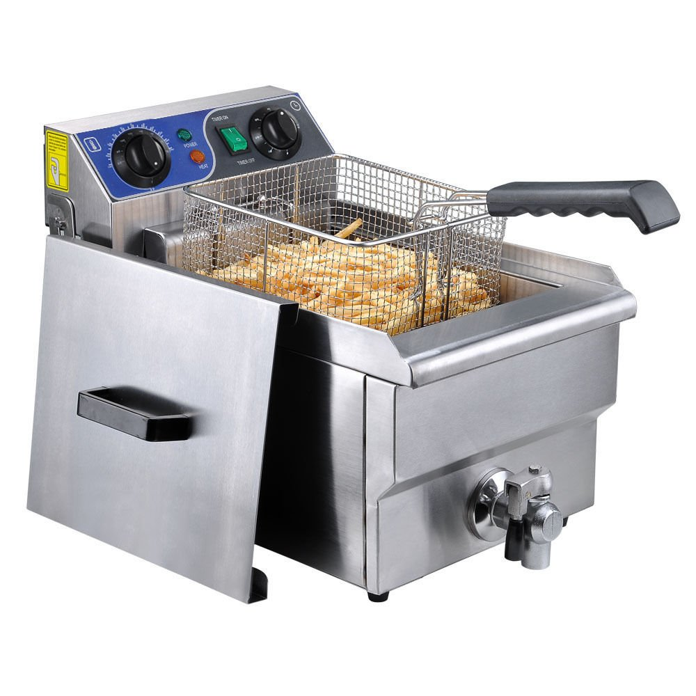 New Commercial Restaurant Electric 10L Deep Fryer w/ Timer and Drain Stainless Steel
