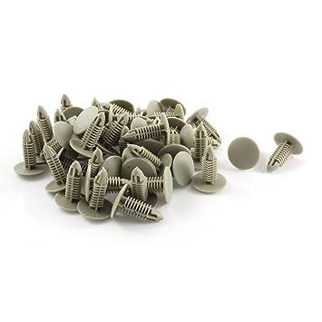 50 Piezas 6mm X 24mm Remaches de Plástico para Coche Tornillos de Fijación Guardabarros Parachoques Clips Color Beige: Amazon.es: Coche y moto