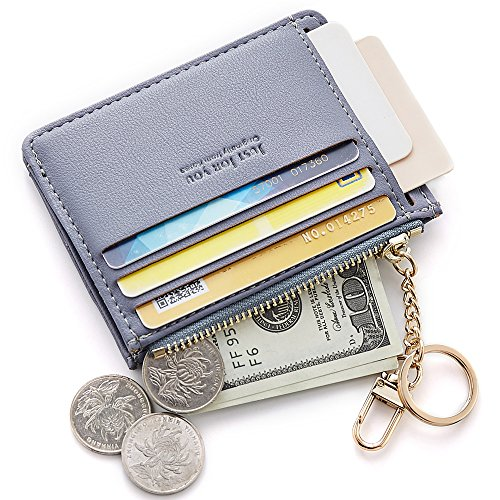 Cyanb Slim Leather Credit Card Case Holder Front Pocket Wallet Change Purse for Women Girls with keychain - Together Rings Forever