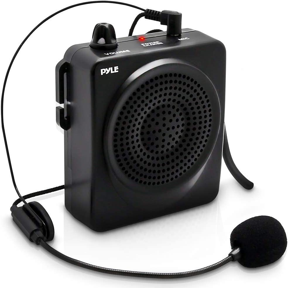 Portable PA Speaker Voice Amplifier - Built-in Rechargeable Battery w/  Headset Microphone Hands-free Waist-Band Strap & Aux 9.9mm Jack for  External