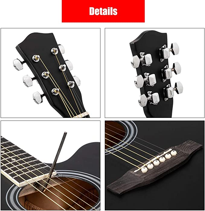 Black 40 Inch Cutaway Acoustic Guitar 20 Frets Beginner Kit for Students Children Adult Bag Guard Wrench Strings Burlywood//Black