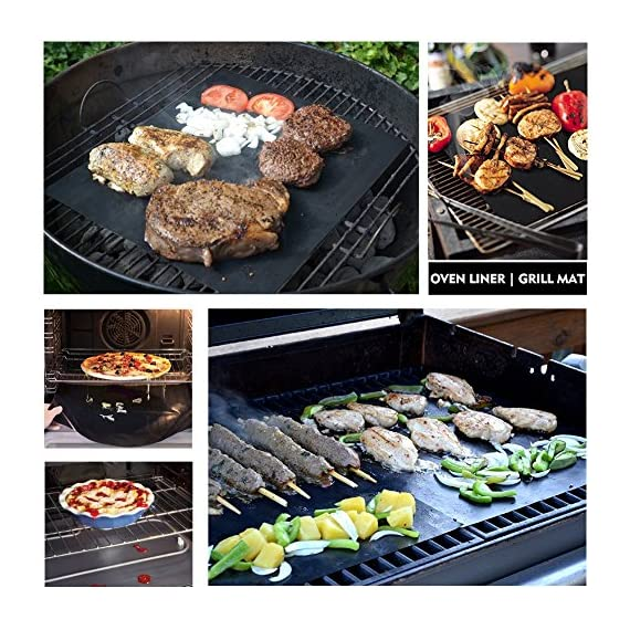 """CHERAINTI Grill Mat Oven Liner 70""""x16"""" Non-Stick Reusable Barbecue BBQ Mat, Cut to Any Size, for Gas Grill, Charcoal, Electric Grill, Electric Oven, FDA Approved, Heat Resistant 5 SMOOTH 100% NON-STICK, EASY TO CLEAN: Thanks to the non-stick teflon material. You can simply rinse with warm water to rid all leftover foods, spills or dried on liquids. You can wipe over with a damp cloth and lay flat on the top rack of your dishwasher for easy cleaning. You will be happy to know that your grill mat 