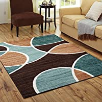5 X 7 Multi Color Geometric Waves Modern Area Rug, Indoor Abstract Shapes Semi Circle Color Block Bedroom Living Room Rectangle Carpet Large Flooring Mat Teal Blue Brick Chocolate, Olefin Nylon