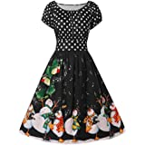 Guesthome Women Short Sleeve Dress, Penguin Dot Print Christmas O-Neck Party Plus Size Dress