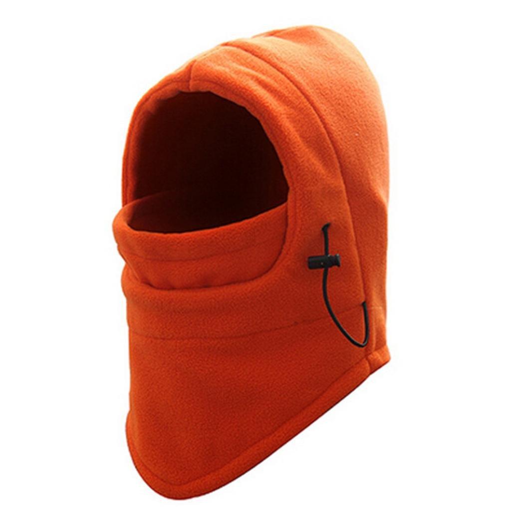 Laimeng_World Winter Fleece Scarf Neck Warmer Face Mask Skiing Cycling Hiking Mask (Orange)