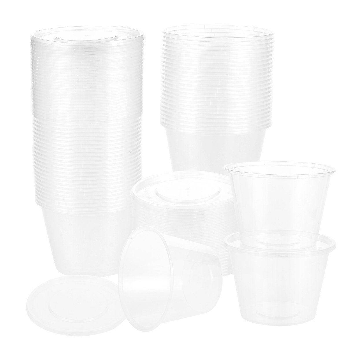 Juvale 50-Pack Plastic Food Containers Lids - Round Food Storage Containers, Deli Take Out Restaurant Containers, Microwave, Freezer, Dishwasher Safe, 17 Ounce