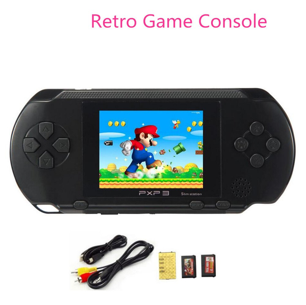 Handheld Game Consoles,Portable PXP3 Slim Retro Video Game Player 2.7 inch LCD Screen 150 Games Children Toys Best Gift(Black)