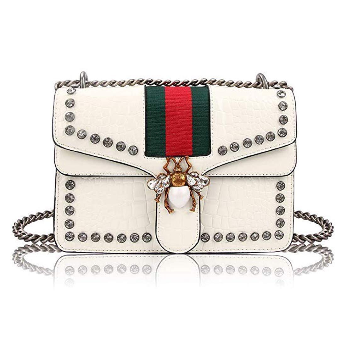 Women Evening Crossbody Bag, Designer Shoulder Bag for Women, Fashion Bee Crossbody Bag Handbags with Chain (Bright White)