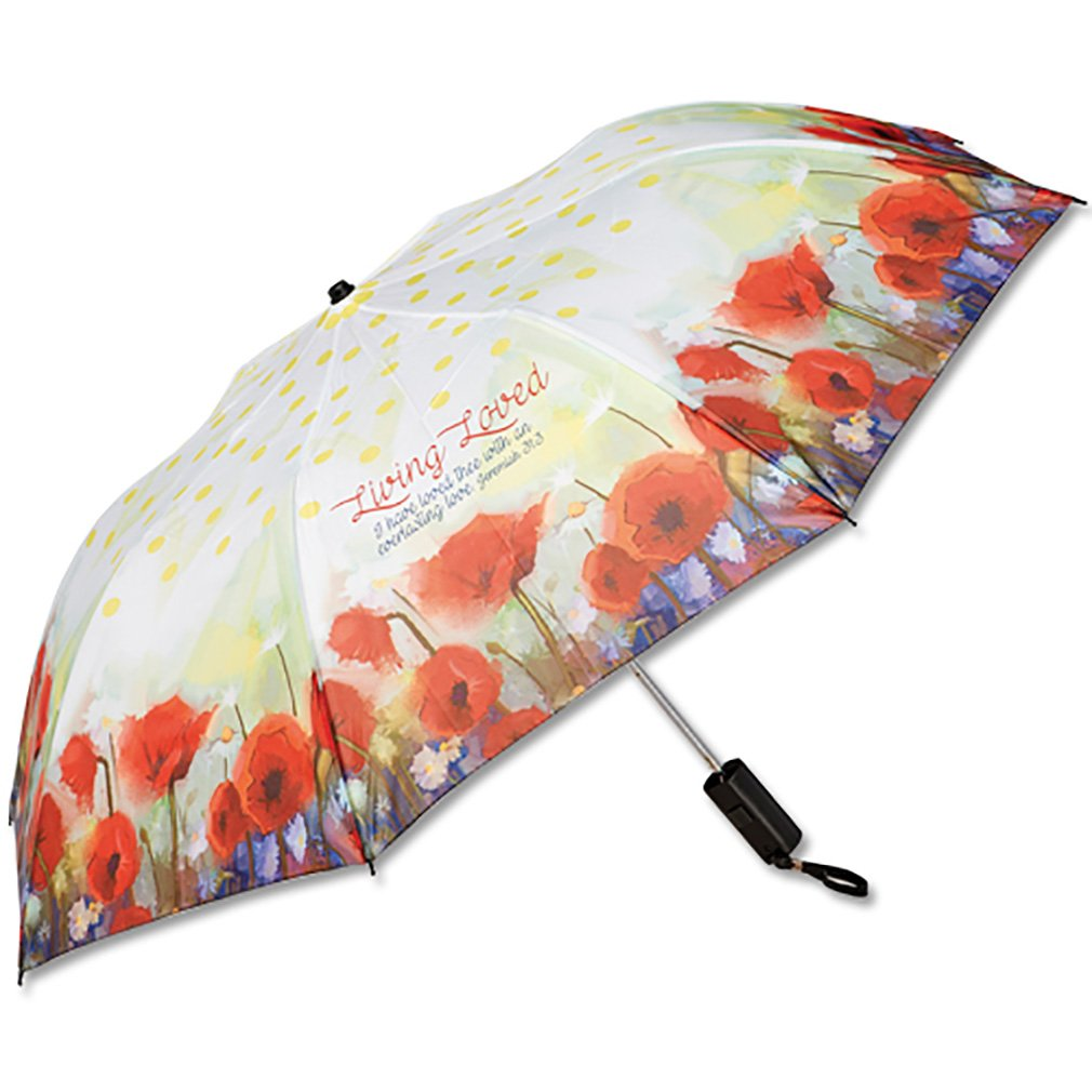 Living Loved Jeremiah 31:3 Tulips Auto Open Close 42 Inch Umbrella