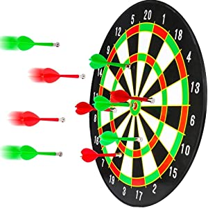 BETTERLINE Magnetic Dartboard Set - 16 Inch Dart Board with 6 Strong Magnet Darts for Kids and Adults - Gift for Game Room, Office, Man Cave and Parties