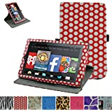 "Fire HD 10 2015 Rotating Case,Mama Mouth 360 Degree Rotary Stand With Cute Lovely Pattern Cover For 10.1"" Amazon Fire HD 10 Tablet 5th Generation 2015 release,PolkaDot Red"