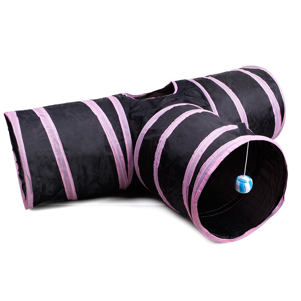 Pink Pet Supplies Cat Ring Paper Three-Way Tunnel Zhiyi Cat Toy Drill Bucket Foldable Cat Channel (color   Pink)