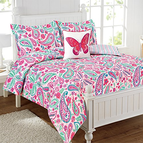 Water color Flutter Watercolor Flutter Butterfly Comforter Set, Full, Pink